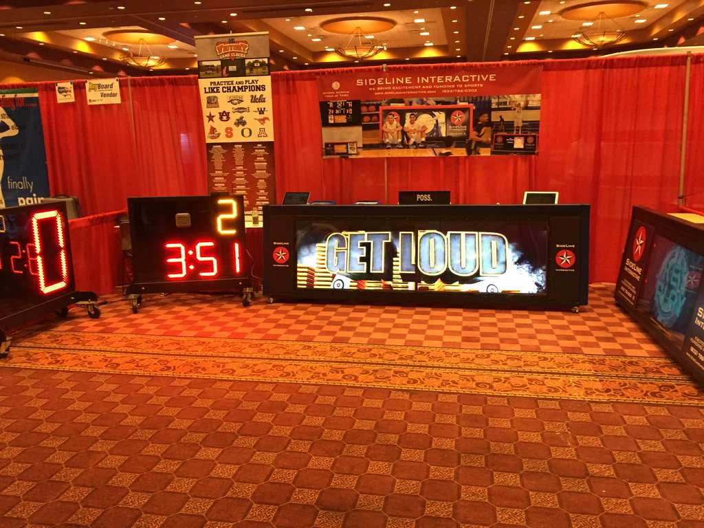 Tradeshow exhibit of scoring table practice timer play clocks