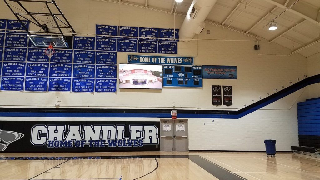 PRO LED video board for basketball gym in Chandler High School Arizona